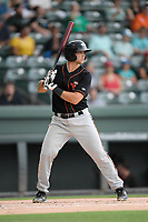 Designated hitter Cody Roberts (14) of the Delmarva Shorebirds bats in a game against the Greenville Drive on Friday, August 2, 2019, at Fluor Field at the West End in Greenville, South Carolina. The game was suspended in the second inning and will not be made up. (Tom Priddy/Four Seam Images)