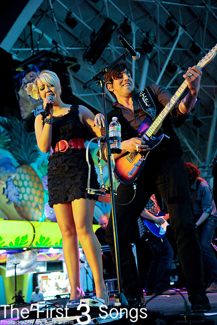 Meghan Linsey and fiance Joshua Scott Jones of Steel Magnolia perform during the ACM Concerts at Fremont Street Experience Event in Las Vegas, Nevada on April 2, 2011.