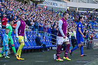 John Terry of Aston Villa and Sean Morrison of Cardiff City lead out their sides for the Sky Bet Championship match between Cardiff City and Aston Villa at the Cardiff City Stadium, Cardiff, Wales on 12 August 2017. Photo by Mark  Hawkins / PRiME Media Images.