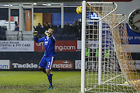 Scott Brown of Cheltenham Town watches as a free-kick hits the bar during the Sky Bet League 2 match between Luton Town and Cheltenham Town at Kenilworth Road, Luton, England on 31 January 2017. Photo by David Horn / PRiME Media Images