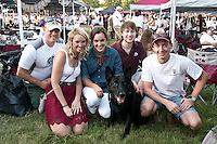 Retired military dog, Maci, was the center of attention during the first 2015 College of Veterinary Medicine tailgate party for the MSU vs LSU football game.  The tailgate celebration was sponsored by the Vets for Vets program.