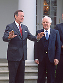 United States President George H.W. Bush, left, and Foreign Minister Eduard Shevardnaze of the Union of Soviet Socialist Republics, right, meet reporters in the Rose Garden of the White House in Washington, D.C. on April 6, 1990.  Shevardnadze passed away on July 7, 2014 at age 86.<br /> Credit: Howard L. Sachs / CNP