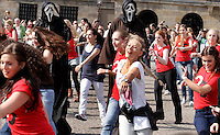 Young gilrs performs at De Dam square on 24 September,2011 in Amsterdam