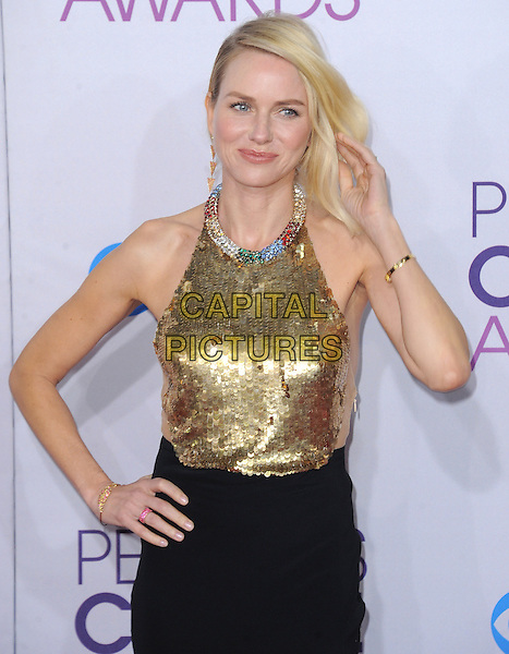 Naomi Watts.The 2013 People's Choice Awards held at Nokia Live in Los Angeles, California 9th January 2013                                                                   .half length gold sleeveless sequins sequined collar embellished jewel halterneck encrusted top skirt black arm hand on hip.CAP/DVS.©DVS/Capital Pictures.