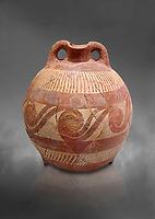 Minoan decorated clay flask  from the  Knossos-Temple Repositories 1650-1550 BC, Heraklion Archaeological  Museum, grey background.