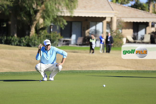 Bill Haas (USA) on the 16th green during Saturday's Round 3 of the 2017 CareerBuilder Challenge held at PGA West, La Quinta, Palm Springs, California, USA.<br /> 21st January 2017.<br /> Picture: Eoin Clarke | Golffile<br /> <br /> <br /> All photos usage must carry mandatory copyright credit (&copy; Golffile | Eoin Clarke)