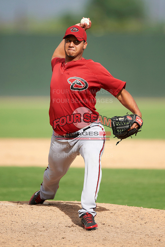 Arizona Diamondbacks minor league pitcher Yoimer Camacho #13 during an instructional league game against the Oakland Athletics at the Papago Park Baseball Complex on October 11, 2012 in Phoenix, Arizona.  (Mike Janes/Four Seam Images)