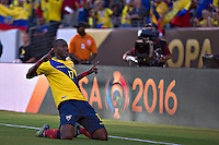 Action photo during the match Ecuador vs Haiti at MetLife Stadium Copa America Centenario 2016. ---Foto  de accion durante el partido Ecuador vs Haiti, En el Estadio MetLife Partido Correspondiante al Grupo - B -  de la Copa America Centenario USA 2016, en la foto: festejo de gol de Jaime Ayovi<br /> <br /> -- 12/06/2016/MEXSPORT/Javier Ramirez.