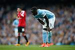 Bacary Sagna of Manchester City dejected during the Barclays Premier League match at the Etihad Stadium. Photo credit should read: Philip Oldham/Sportimage