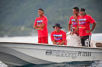 TEAHUPOO, Tahiti (Wednesday, May 13, 2009) - The 2009 Billabong Pro Tahiti presented by Air Tahiti Nui continued today with the remaining two heats of Round One and the first six heats of Round two. The contest was put on hold till 11 am when Heat 15 began. The contest was put back on hold at the end of Heat 16 after a wind and rain squall blew through the site and conditions became unsurfable. It was restarted at 2 pm and ran till dark in windy 1-5 meter waves...The event is Stop No. 3 of 10 on the 2009 ASP World Tour and boasts a waiting period from May 9 through May 20, 2009..The contest brings together 45 of the world's best surfers charging the heaviest wave on earth in one of the most pristine locations on the planet..This year's event will run the new format, seeding all competitors directly into man-on-man elimination heats, with the Top 16 seeded directly into Round 2 while the remaining surfers battle it out in Round 1...Photo: joliphotos.com