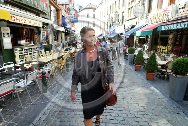 BRUSSELS - BELGIUM - 11 JULY 2005 -- The former Norwegian Minister of Social Affairs, Ingrid SCHOU, walking the streets near Grand Place. PHOTO: ERIK LUNTANG / EUP-IMAGES..