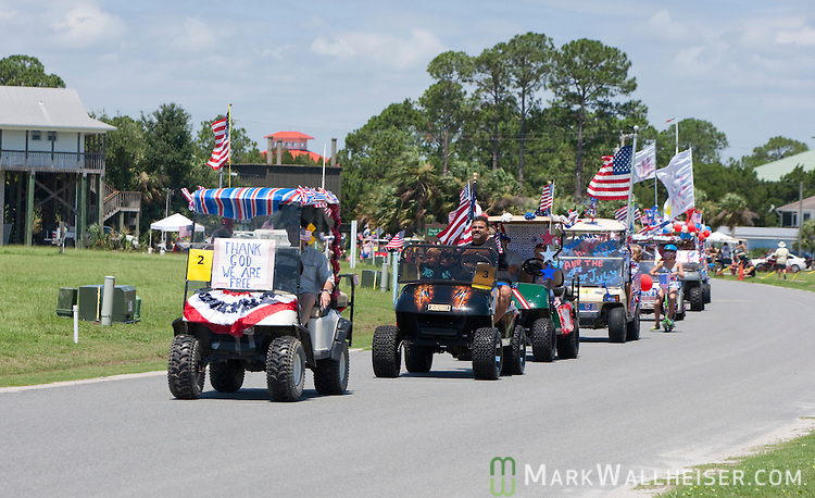 The 4th of July Independence Day celebration golf cart parade at Shell Point in Wakulla County, Florida