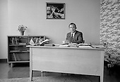 Head Teacher in his study, Whitworth Comprehensive School, Whitworth, Lancashire.  1970.