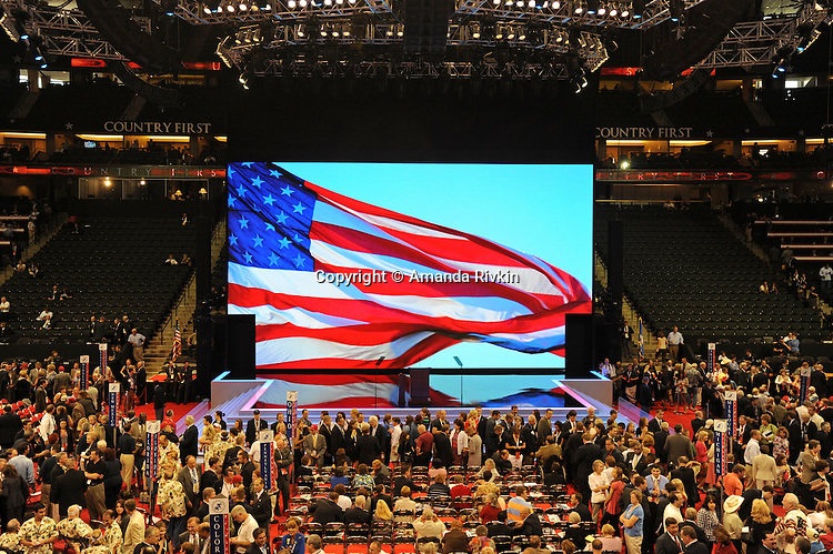The floor of the Republican National Convention at the XCel Center kicks off its first day of muted activities due to Hurricane Gustav in Saint Paul, Minnesota on September 1, 2008.