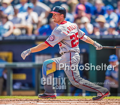 25 August 2013: Washington Nationals first baseman Adam LaRoche in action against the Kansas City Royals at Kauffman Stadium in Kansas City, MO. The Royals defeated the Nationals 6-4, to take the final game of their 3-game inter-league series. Mandatory Credit: Ed Wolfstein Photo *** RAW (NEF) Image File Available ***