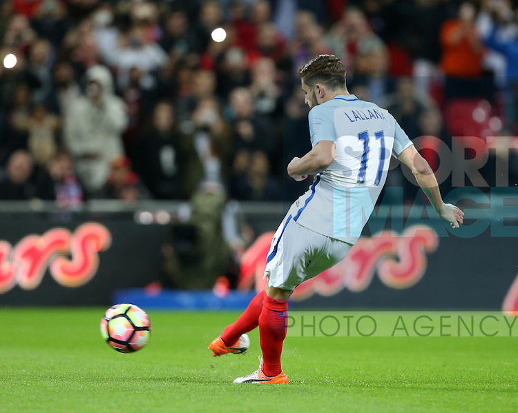 England's Adam Lallana scoring his sides opening goal during the friendly match at Wembley Stadium, London. Picture date November 15th, 2016 Pic David Klein/Sportimage