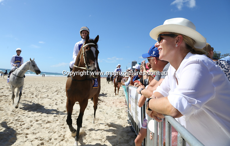 7 JANUARY 2018 GOLD COAST AUSTRALIA<br /> WWW.MATRIXPICTURES.COM.AU<br /> <br /> NON EXCLUSIVE PICTURES<br /> <br /> Zara Phillips pictured with husband Mike Tindall and daughter Mia on the Gold Coast for the Magic Millions Barrier Draw.<br /> <br /> Note: All editorial images subject to the following: For editorial use only. Additional clearance required for commercial, wireless, internet or promotional use.Images may not be altered or modified. Matrix Media Group makes no representations or warranties regarding names, trademarks or logos appearing in the images.