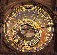 "The Orloj or Prague Astronomical Clock, made by Hanus and installed in 1410 on the southern wall of the Old Town Hall on Old Town Square, Prague, Czech Republic. The clock mechanism has 3 main components: the astronomical dial, representing the position of the Sun and Moon in the sky and displaying various astronomical details; ""The Walk of the Apostles"", a clockwork hourly show of figures of the Apostles and other moving sculptures striking the time; and a calendar dial with medallions representing the months. It is the third-oldest astronomical clock in the world and the oldest one still working. The historic centre of Prague was declared a UNESCO World Heritage Site in 1992. Picture by Manuel Cohen"