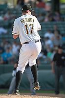 Salt Lake Bees starting pitcher Andrew Heaney (17) in action against the Albuquerque Isotopes in Pacific Coast League action at Smith's Ballpark on June 8, 2015 in Salt Lake City, Utah.  The Bees defeated the Isotopes 10-7 in game one of a double-header. (Stephen Smith/Four Seam Images)