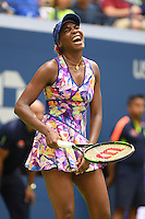 FLUSHING NY- SEPTEMBER 05: Venus Williams reacts during the match with Yaroslava Shvedova on Arthur Ashe Stadium at the USTA Billie Jean King National Tennis Center on September 5, 2016 in Flushing Queens. Credit: mpi04/MediaPunch