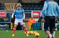 Cameron McGeehan of Luton Town warms up during the Sky Bet League 2 match between Wycombe Wanderers and Luton Town at Adams Park, High Wycombe, England on 6 February 2016. Photo by Andy Rowland.