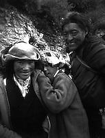 Tibetans at Drikung (Drigung) Valley Monastery, Tibet. Tibet