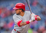 28 April 2016: Philadelphia Phillies shortstop Freddy Galvis in action against the Washington Nationals at Nationals Park in Washington, DC. The Phillies shut out the Nationals 3-0 to sweep their mid-week, 3-game series. Mandatory Credit: Ed Wolfstein Photo *** RAW (NEF) Image File Available ***