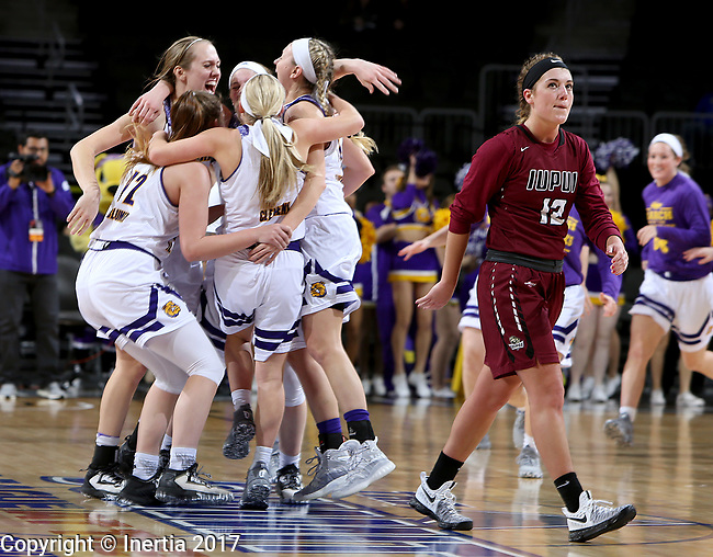 SIOUX FALLS, SD: MARCH 7: Caitlyn Tolen #12 from IUPUI walks off the court as the Western Illinois Leathernecks celebrate their 77-69 overtime win in the Women's Summit League Basketball Championship Game on March 7, 2017 at the Denny Sanford Premier Center in Sioux Falls, SD. (Photo by Dave Eggen/Inertia)