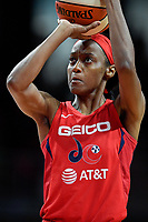 Washington, DC - August 25, 2019: Washington Mystics guard Shatori Walker-Kimbrough (32) at the free throw line during second half action of game between the New York Liberty and the Washington Mystics at the Entertainment and Sports Arena in Washington, DC. The Mystics defeated New York 101-72. (Photo by Phil Peters/Media Images International)