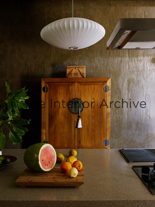 The Korean cabinet in the contemporary kitchen is an antique