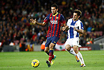 Spain.Barcelona. 01.11.2013<br /> Partido de liga BBVA entre Fc Barcelona- RCD Espanyol<br /> Busquetas vs Victor S