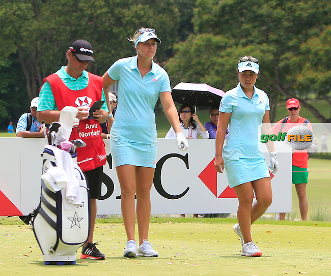 Anna Nordqvist (SWE) &amp; Danielle Kang (USA) on the 17th tee during Round 3 of the HSBC Women's Champions at the Sentosa Golf Club, The Serapong Course in Singapore on Saturday 7th March 2015.<br /> Picture:  Thos Caffrey / www.golffile.ie