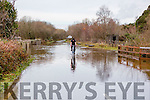 A cyclist manages to get through the flood in Glenflesk village on the Barradubh road on Sunday