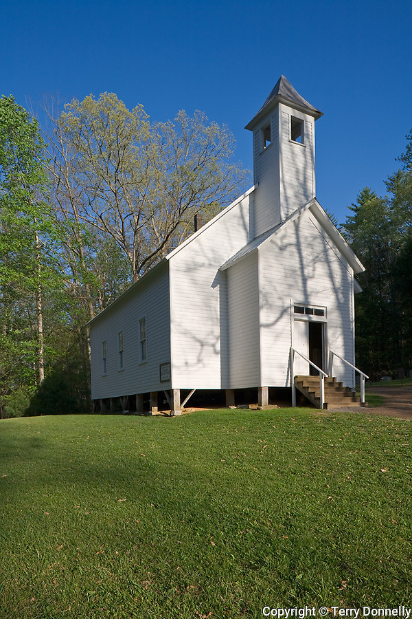 Great Smoky Mts. National Park, TN/NC<br /> White wood frame Missionary Baptist church (1894) in Cades Cove