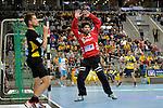 GER - Mannheim, Germany, September 23: During the DKB Handball Bundesliga match between Rhein-Neckar Loewen (yellow) and TVB 1898 Stuttgart (white) on September 23, 2015 at SAP Arena in Mannheim, Germany.  Darko Stanic #12 of Rhein-Neckar Loewen<br /> <br /> Foto &copy; PIX-Sportfotos *** Foto ist honorarpflichtig! *** Auf Anfrage in hoeherer Qualitaet/Aufloesung. Belegexemplar erbeten. Veroeffentlichung ausschliesslich fuer journalistisch-publizistische Zwecke. For editorial use only.