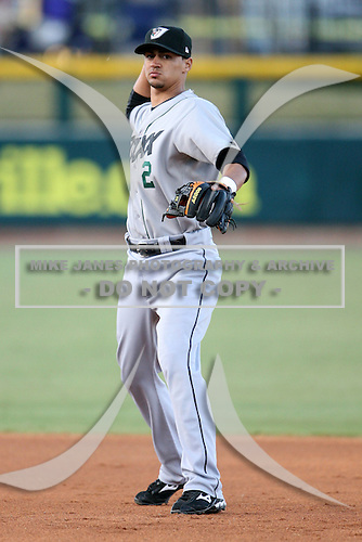 April 17, 2009:  Shortstop Jeff Dominguez (2) of the West Tenn Diamond Jaxx, Southern League Class-AA affiliate of the Seattle Mariners, during a game at the Baseball Grounds of Jacksonville in Jacksonville, FL.  Photo by:  Mike Janes/Four Seam Images