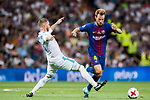 Ivan Rakitic (r) of FC Barcelona competes for the ball with Sergio Ramos of Real Madrid  during their Supercopa de Espana Final 2nd Leg match between Real Madrid and FC Barcelona at the Estadio Santiago Bernabeu on 16 August 2017 in Madrid, Spain. Photo by Diego Gonzalez Souto / Power Sport Images