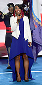 Star Swain sings the National Anthem to open the fourth session of the 2016 Democratic National Convention at the Wells Fargo Center in Philadelphia, Pennsylvania on Thursday, July 28, 2016.<br /> Credit: Ron Sachs / CNP<br /> (RESTRICTION: NO New York or New Jersey Newspapers or newspapers within a 75 mile radius of New York City)