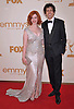 "CHRISTINA HENDRICKS AND GEOFFREY AREND.attends the Academy of Television Arts & Sciences 63rd Primetime Emmy Awards at Nokia Theatre L.A. Live, Los Angeles_18/09/2011.Mandatory Photo Credit: ©Crosby/Newspix International. .**ALL FEES PAYABLE TO: ""NEWSPIX INTERNATIONAL""**..PHOTO CREDIT MANDATORY!!: NEWSPIX INTERNATIONAL(Failure to credit will incur a surcharge of 100% of reproduction fees).IMMEDIATE CONFIRMATION OF USAGE REQUIRED:.Newspix International, 31 Chinnery Hill, Bishop's Stortford, ENGLAND CM23 3PS.Tel:+441279 324672  ; Fax: +441279656877.Mobile:  0777568 1153.e-mail: info@newspixinternational.co.uk"
