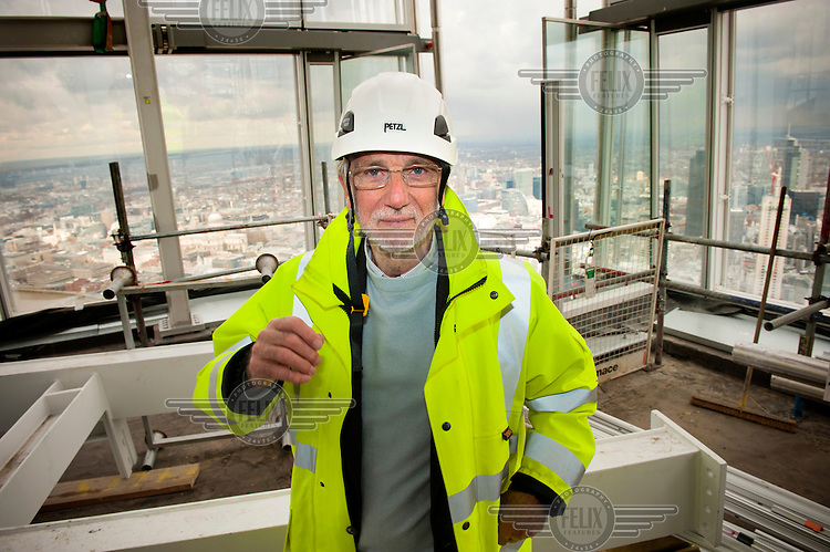 Architect Renzo Piano in his new building, The Shard, at London Bridge. The Shard, which will be the tallest building in Western Europe is due to be completed and officially inaugurated on the 5th July 2012, opening to the public in 2013. It will contain offices, restaurants, a hotel, apartments and an observation deck.