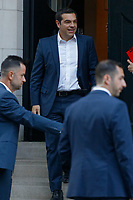 Pictured: Alexis Tsipras leaves the Hellenic Centre in London, UK. Monday 25 June 2018<br /> Re: Greek Prime Minister Alexis Tsipras is on a three day visit to London, UK.