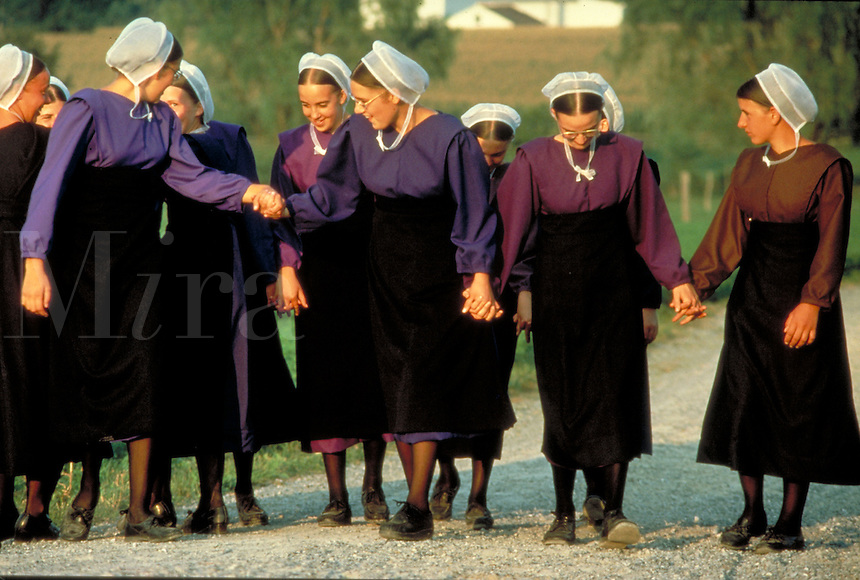 A group of Amish teen girls socialize as they walk in a farm driveway during a buddy group social. Amish teenage girls, teenagers. Lancaster Pennsylvania United States Rural farm.