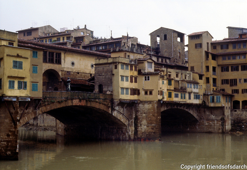 Florence: Ponte Vecchio (Old Bridge) on Arno River. Small shops on the passageway.