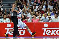 MADRID, ESPAÑA - 11 DE JUNIO DE 2017: Sergio Llull celebra una acción durante el partido entre Real Madrid y Valencia Basket, correspondiente al segundo encuentro de playoff de la final de la Liga Endesa, disputado en el WiZink Center de Madrid. (Foto: Mateo Villalba-Agencia LOF)
