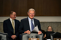 United States Senator Jim Inhofe (Republican of Oklahoma) arrives to the U.S. Senate Committee on Armed Services hearing on Capitol Hill in Washington D.C., U.S. on July 31, 2019. <br /> <br /> Credit: Stefani Reynolds / CNP/AdMedia