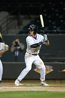 Tyler Frost (5) of the Winston-Salem Dash at bat against the Lynchburg Hillcats at BB&T Ballpark on May 9, 2019 in Winston-Salem, North Carolina. The Dash defeated the Hillcats 4-1. (Brian Westerholt/Four Seam Images)