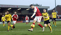 Fleetwood Town's Wes Burns controls under pressure from Oxford United's Jamie Hanson<br /> <br /> Photographer Rich Linley/CameraSport<br /> <br /> The EFL Sky Bet League One - Fleetwood Town v Oxford United - Saturday 12th January 2019 - Highbury Stadium - Fleetwood<br /> <br /> World Copyright &copy; 2019 CameraSport. All rights reserved. 43 Linden Ave. Countesthorpe. Leicester. England. LE8 5PG - Tel: +44 (0) 116 277 4147 - admin@camerasport.com - www.camerasport.com