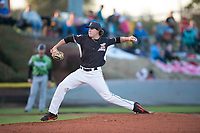 Salem-Keizer Volcanoes starting pitcher Seth Corry (28) delivers a pitch during a Northwest League game against the Eugene Emeralds at Volcanoes Stadium on August 31, 2018 in Keizer, Oregon. The Eugene Emeralds defeated the Salem-Keizer Volcanoes by a score of 7-3. (Zachary Lucy/Four Seam Images)