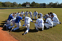 South Dakota State JackRabbits players pray before a game against the Maine Black Bears at South County Regional Park on March 9, 2014 in Port Charlotte, Florida.  Maine defeated South Dakota 5-4.  (Mike Janes/Four Seam Images)