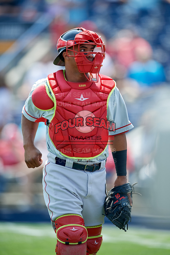 Portland Sea Dogs catcher Jhon Nunez (20) during the first game of a doubleheader against the Reading Fightin Phils on May 15, 2018 at FirstEnergy Stadium in Reading, Pennsylvania.  Portland defeated Reading 8-4.  (Mike Janes/Four Seam Images)